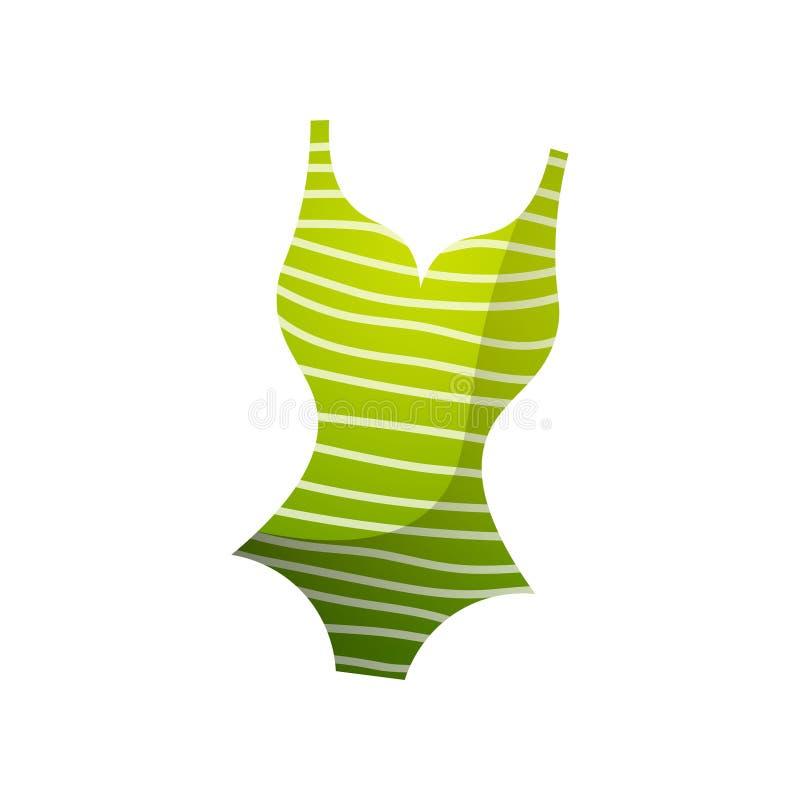 El verde rayó la línea blanca traje de baño de la mujer, tiempo de la playa ilustración del vector