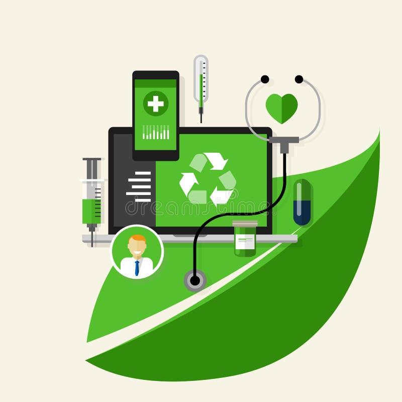 El verde recicla favorable al medio ambiente médico de la salud ilustración del vector