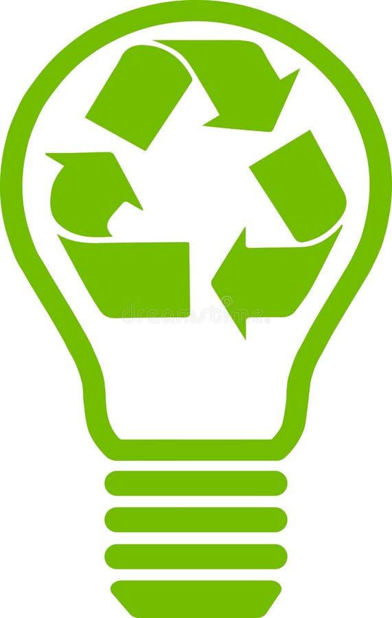 El verde recicla símbolo dentro de un bulbo ilustración del vector