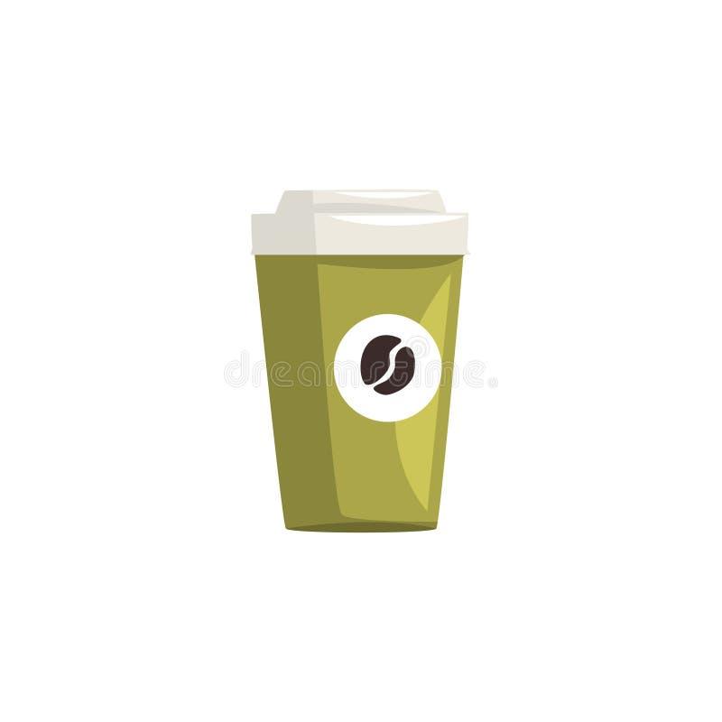 El verde se lleva la taza de café de papel, café caliente disponible para ir taza con el ejemplo del vector de la historieta de l libre illustration