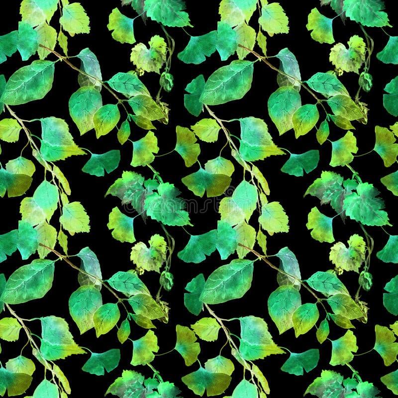 El verde se va en el modelo inconsútil del bosque de la noche, fondo negro watercolor fotos de archivo libres de regalías
