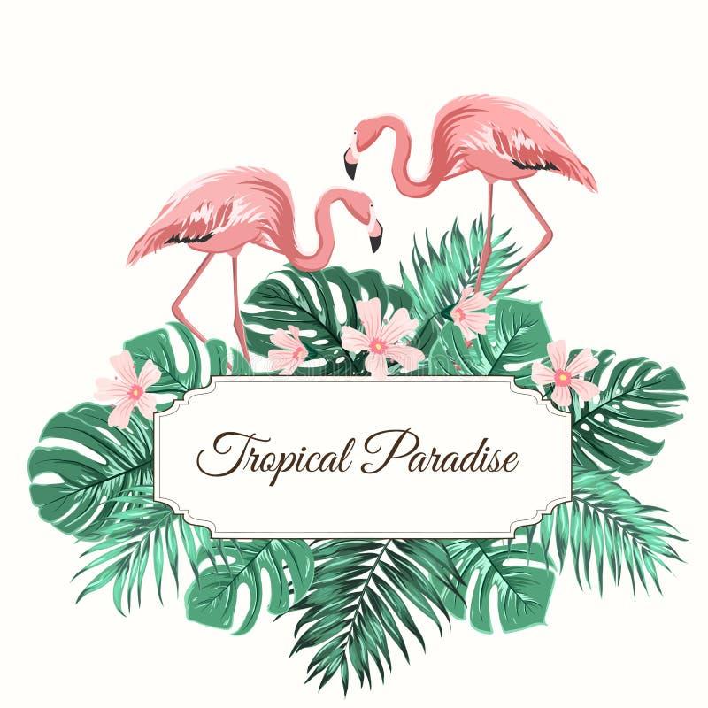 El verde tropical del paraíso deja el flamenco de las flores ilustración del vector