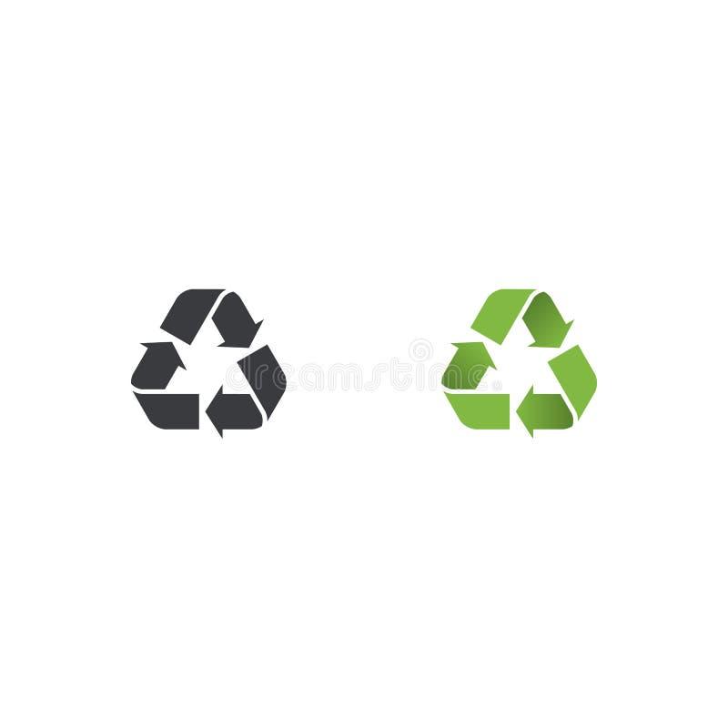 El verde y el negro del vector reciclan el icono Recicle la forma del símbolo Elemento del diseño libre illustration