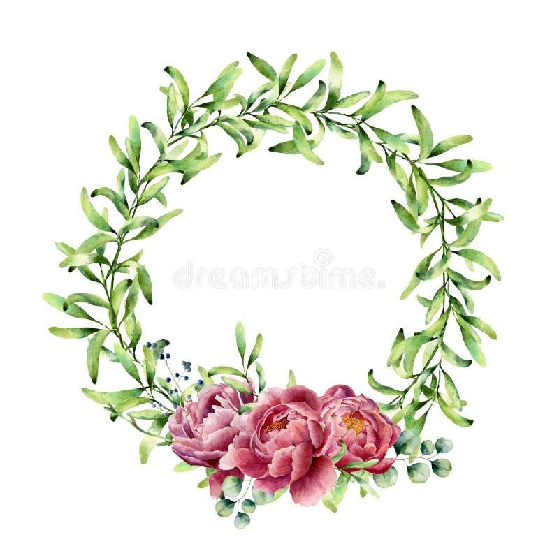 El verdor de la acuarela enrruella con las flores y el eucalipto de la peonía Frontera floral pintada a mano aislada en el fondo  libre illustration