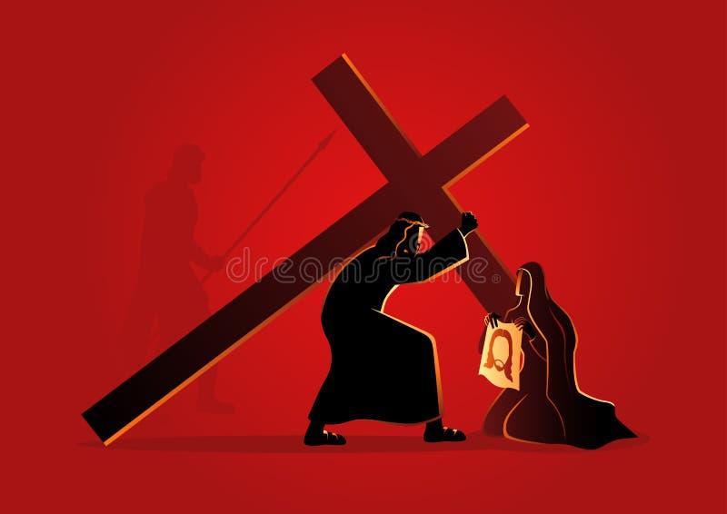 El Veronica limpia la cara de Jesús ilustración del vector