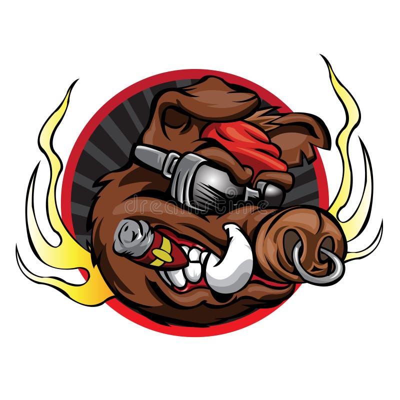 El verraco va a la mascota del equipo de deporte stock de ilustración