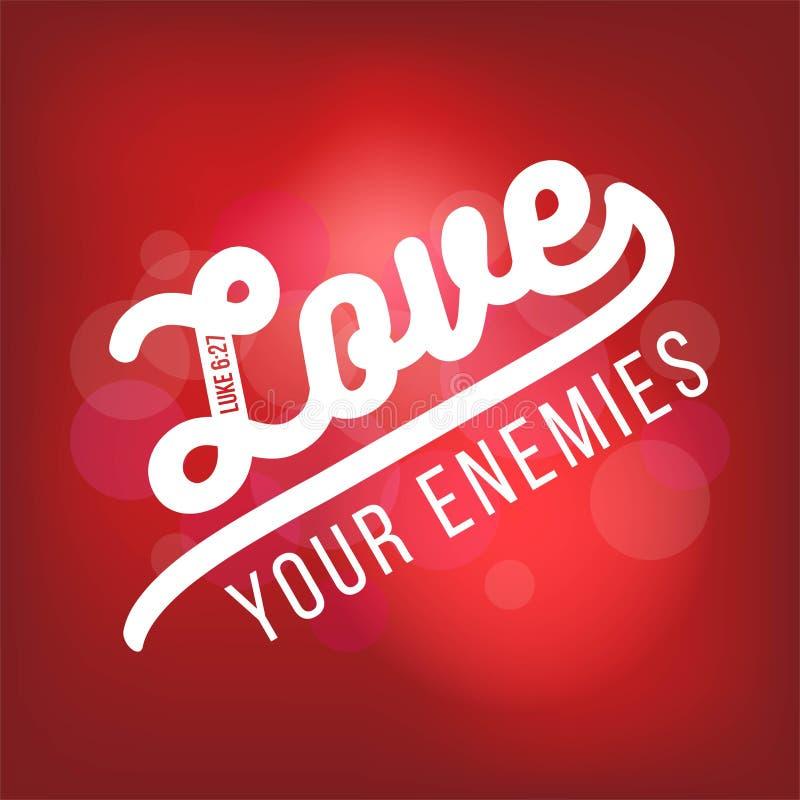 El verso bíblico de la escritura de Lucas, ama a sus enemigos Para el uso como stock de ilustración