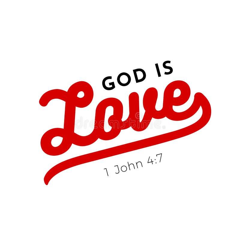 El verso bíblico de la escritura a partir de 1 Juan, dios es amor para el uso como poste libre illustration