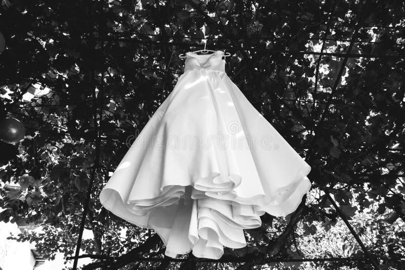 El vestido de boda del satén con el tren está colgando en el árbol Foto al aire libre elegante imagen de archivo libre de regalías