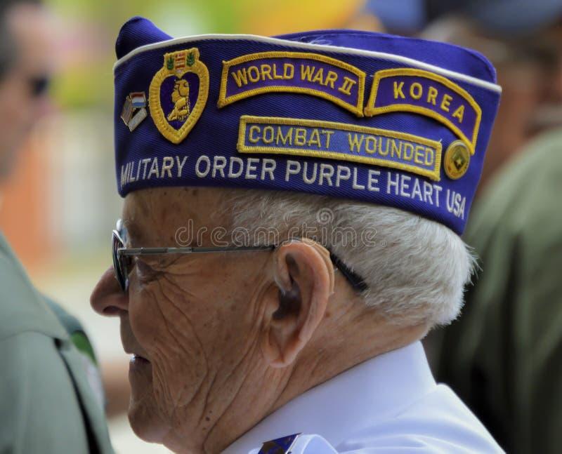 El veterano lleva el sombrero decorativo con los remiendos foto de archivo libre de regalías