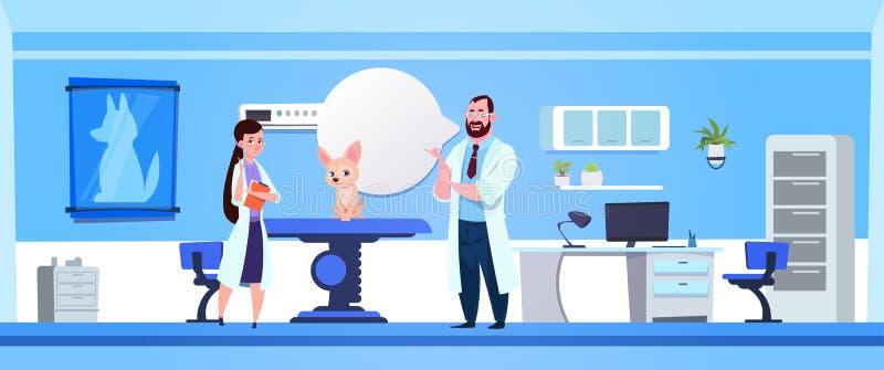 El veterinario doctor concepto de la veterinaría de la oficina de Examining Dog In Clinic ilustración del vector