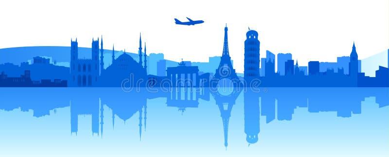 El viajar alrededor de Europa ilustración del vector