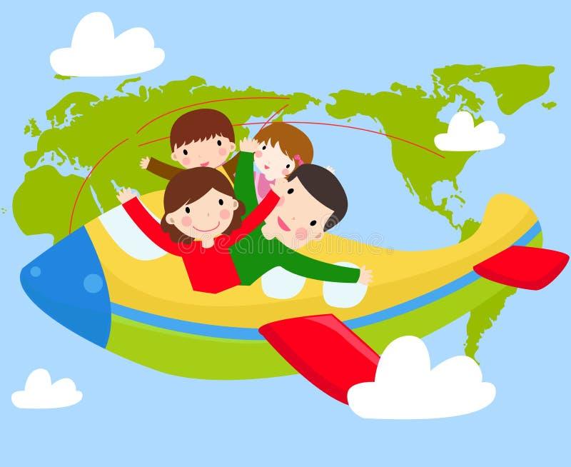 El viajar de la familia stock de ilustración