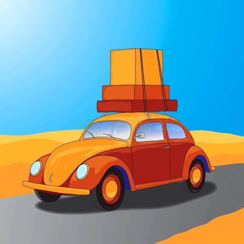 El viajar del coche stock de ilustración