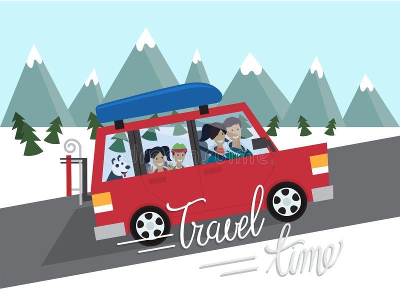 El viajar del invierno de la familia Turismo al aire libre de la montaña Recorrido en coche Ejemplo plano del vector del diseño stock de ilustración