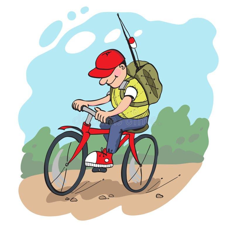 El viajar en bici ilustración del vector