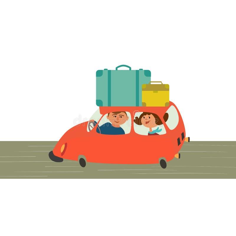 El viajar en coche stock de ilustración