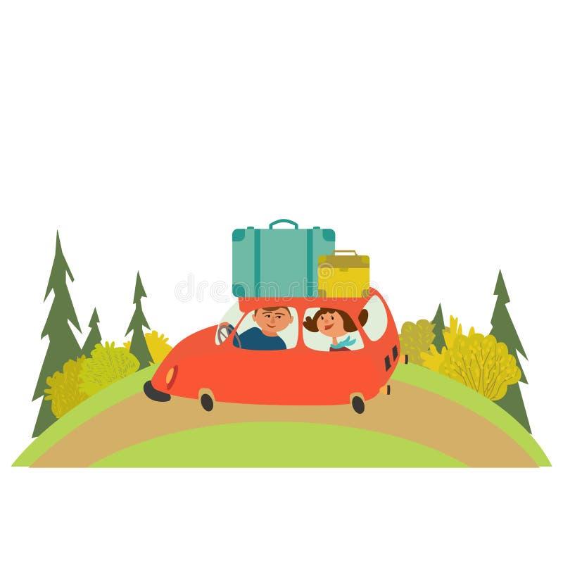 El viajar en coche ilustración del vector