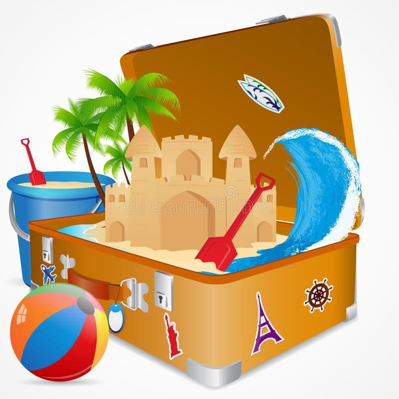 El viajar en playa del mar libre illustration