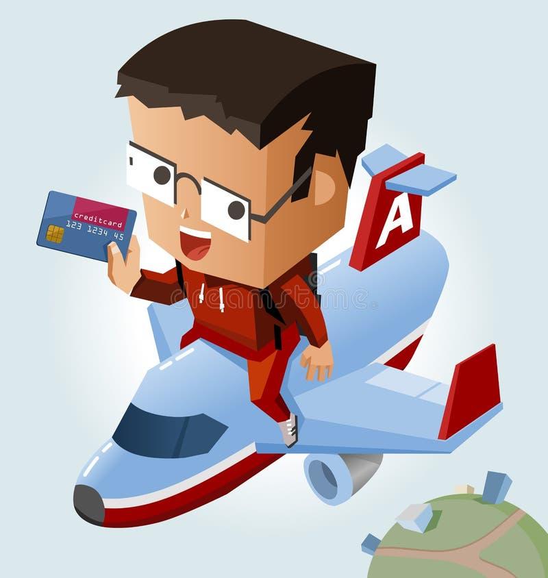El viajar fácil con la tarjeta de crédito libre illustration