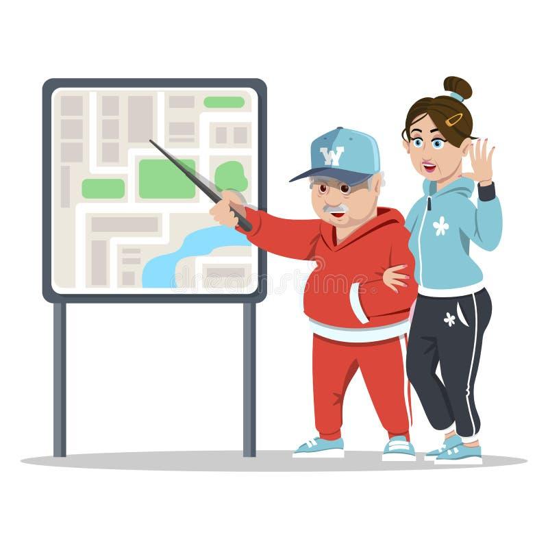 El viajar mayor de los pares abuelos Pares mayores que tienen visita turística de la ciudad Viejos turistas que leen un mapa ilustración del vector