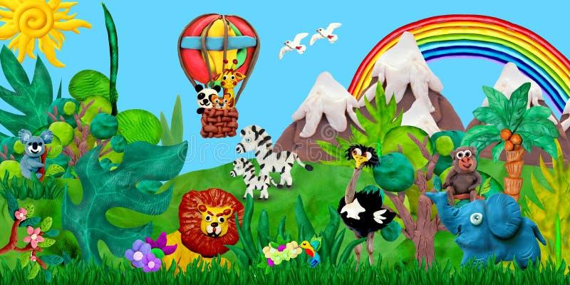 El viajar por el ejemplo de la bandera de los niños de la representación de los animales 3D del parque zoológico del balón de air ilustración del vector