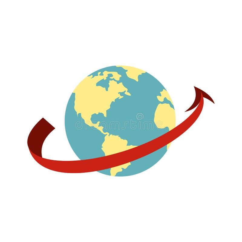 El viajar por el icono del avión en todo el mundo ilustración del vector