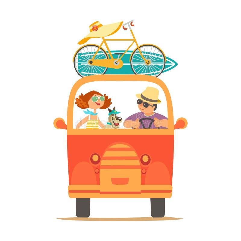 El viajar por el icono del coche stock de ilustración