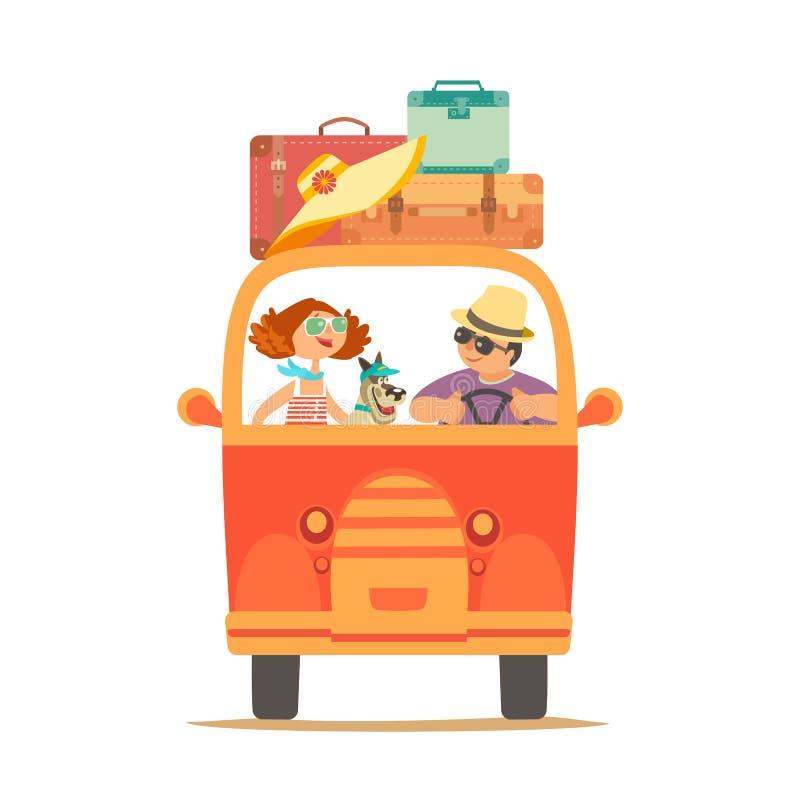 El viajar por el icono del coche ilustración del vector