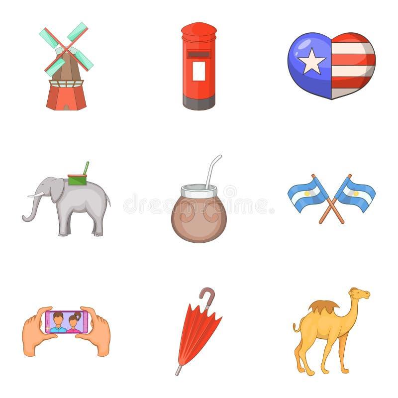 El viaje alrededor de iconos del mundo fijó, estilo de la historieta stock de ilustración