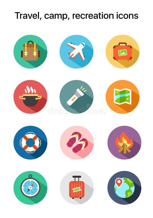 El viaje, campo, plano de la reconstrucción coloreó iconos del vector libre illustration