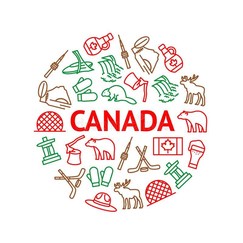 El viaje Canadá firma la línea fina alrededor del anuncio de la plantilla del diseño Vector stock de ilustración