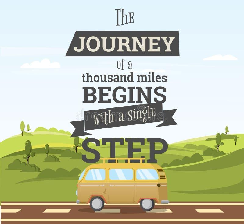 El viaje comienza con un paso ilustración del vector