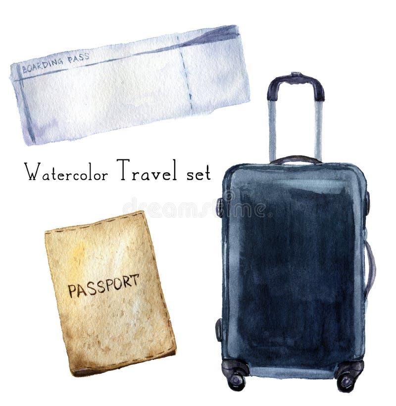 El viaje de la acuarela fijó incluir el pasaporte, documento de embarque, maleta del navi Ejemplo pintado a mano aislado en el fo ilustración del vector