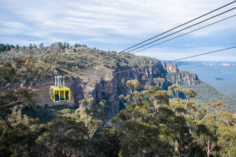 El viaje de la manera del cielo del cable en las montañas azules parque nacional, Nuevo Gales del Sur, Australia fotografía de archivo libre de regalías