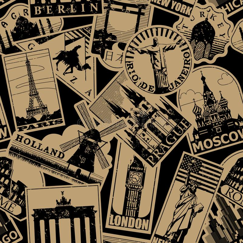 El viaje de papel de las señales del vintage etiqueta el backgroun inconsútil del modelo stock de ilustración
