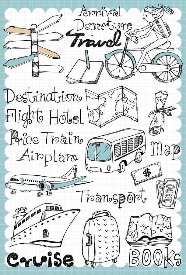 El viaje dibujado mano fijó 01 libre illustration