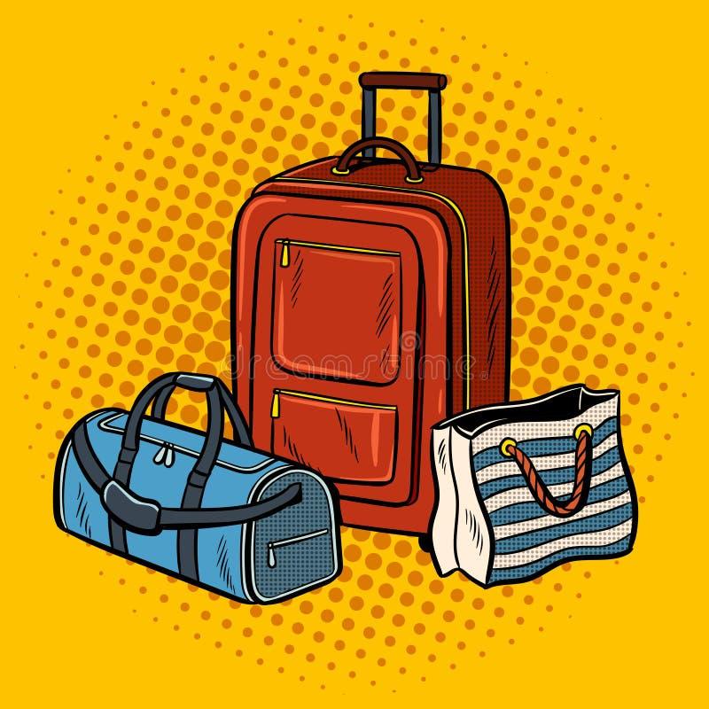 El viaje empaqueta el ejemplo del vector del arte pop ilustración del vector