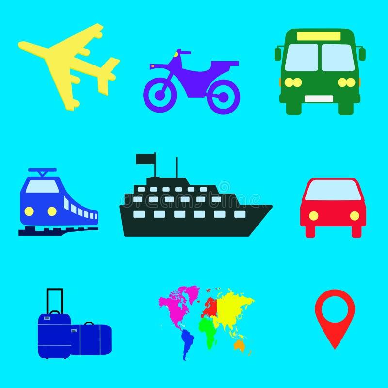 El viaje en todo el mundo transporta los vectores continentes, iconos fijados stock de ilustración