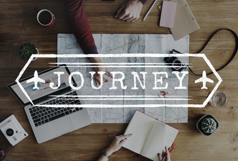 El viaje explora concepto del gráfico del viaje del viaje del viaje del viaje imagen de archivo
