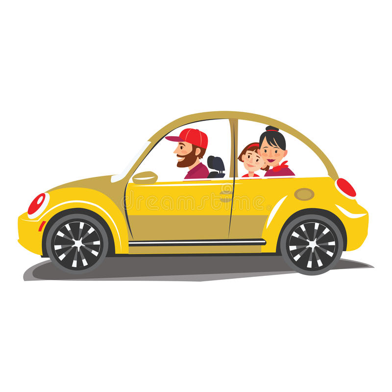 El viaje feliz de la familia en un coche la familia sale de la ciudad por un tiempo del turismo y de vacaciones de las vacaciones stock de ilustración