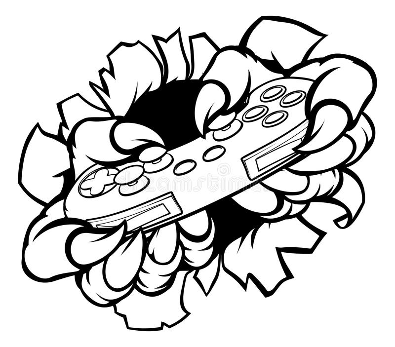 El videojugador animal del jugador del monstruo agarra el regulador de los juegos ilustración del vector