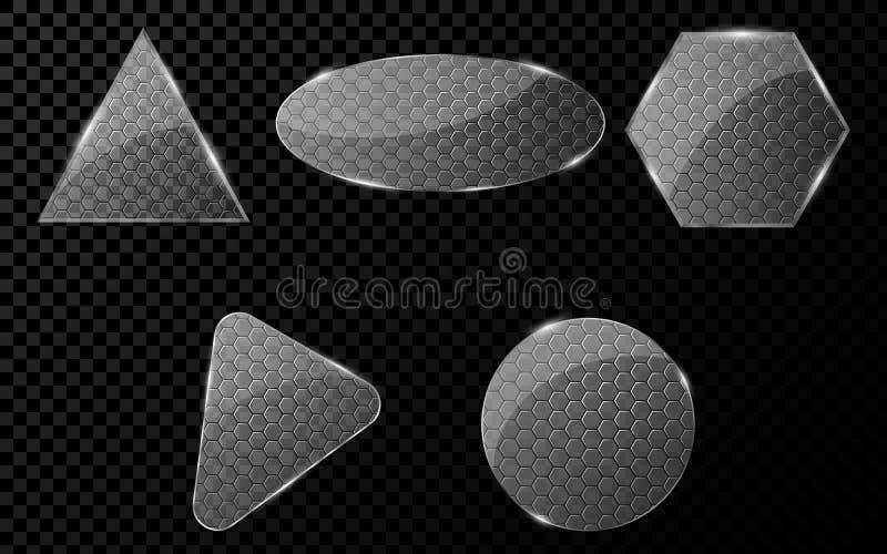 El vidrio plano se opone con un modelo cibernético de centenares Un sistema de las banderas en blanco para sus proyectos De alta  ilustración del vector