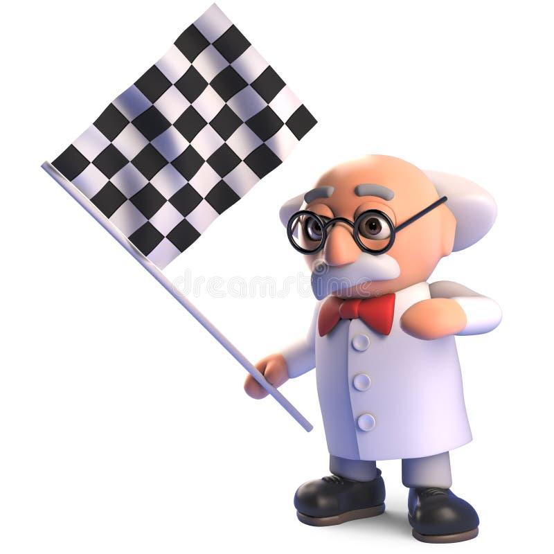 El viejo carácter enojado loco del profesor del científico agita la bandera a cuadros en la meta, ejemplo 3d libre illustration