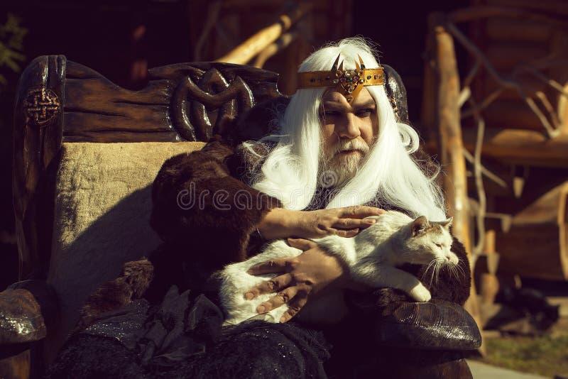 El viejo druida se sienta en silla imagenes de archivo