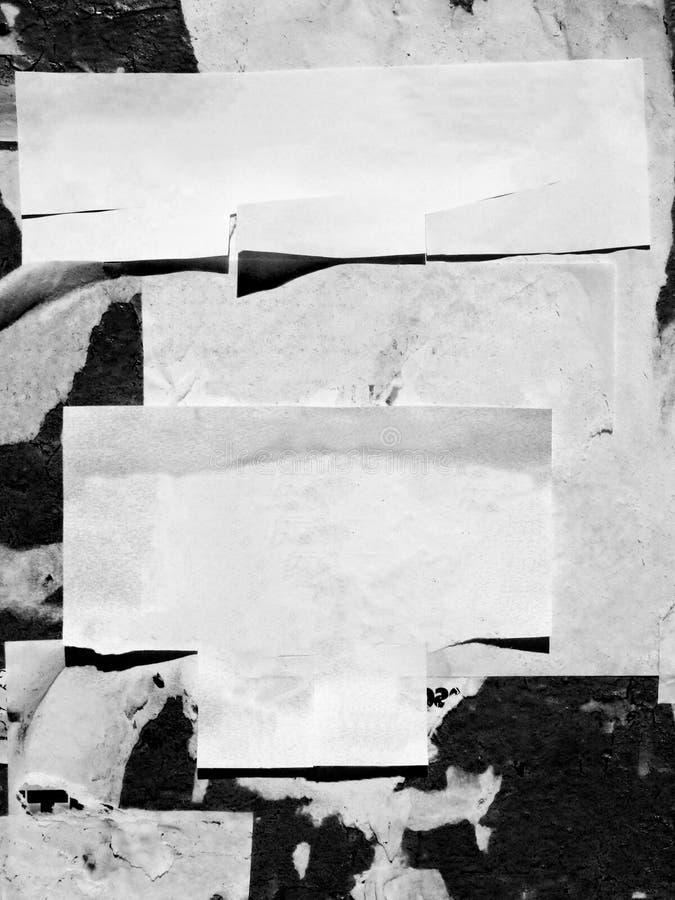 El viejo Grunge publicitario rasguñado del vintage empareda el papel de cartel rasgado cartelera, capítulo urbano Crumpl arrugado fotografía de archivo