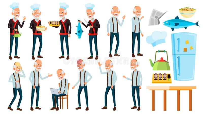 El viejo hombre asiático plantea vector determinado Personas mayores Persona mayor envejecido Cocinero en restaurante Rolls, pesc ilustración del vector