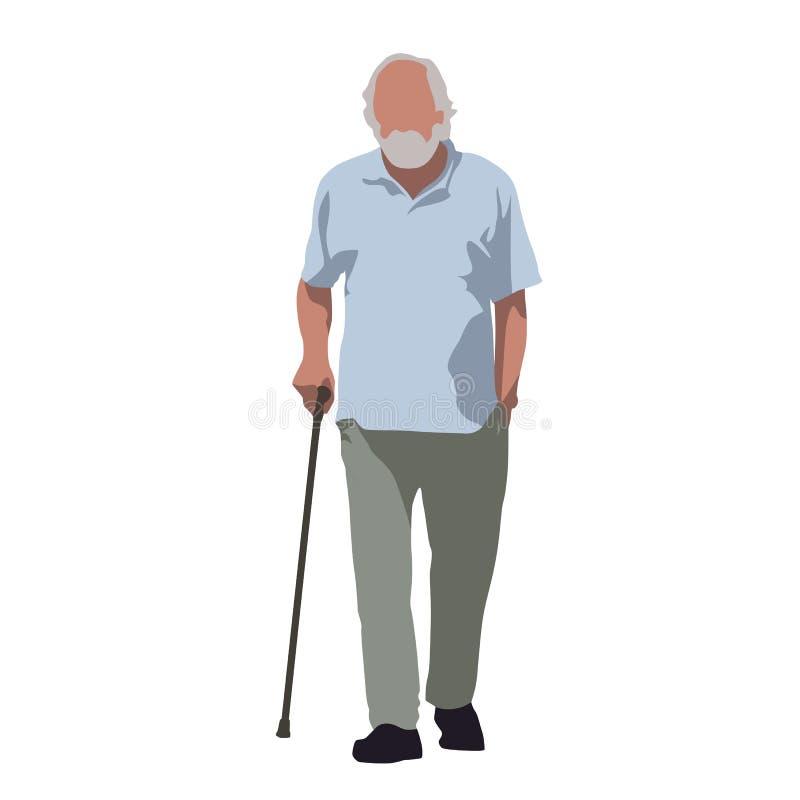 El viejo hombre camina y confía en el bastón ilustración del vector