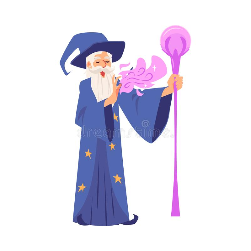 El viejo hombre del mago en traje y sombrero se coloca con el personal y hace estilo mágico de la historieta libre illustration