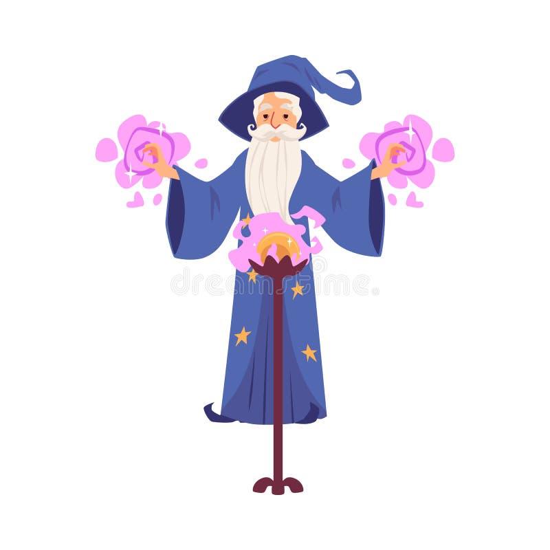 El viejo hombre del mago y del mago con el sombrero y la barba crea encantos con una bola mágica ilustración del vector